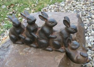 Bunny Rabbit Friends Sculpture Primitive French Country Farmhouse Shelf Decor
