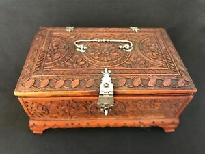 Antique Anglo Indian Carved Sandalwood Box 1800 Silver Mounted Good Perfume