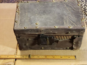 Antique 1860 Civil War Period Primitive Leather Covered Small Document Box