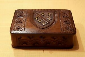 Vintage Carved Wooden Jewelry Document Box With Lock And Key