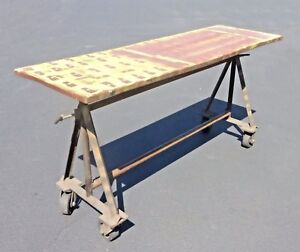 Vintage Industrial Rustic Farmhouse Entry Table French Country On Wheels