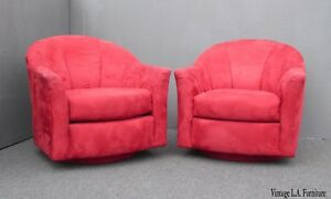 Pair Of Vintage Mid Century Modern Milo Baughman Style Red Swivel Chairs