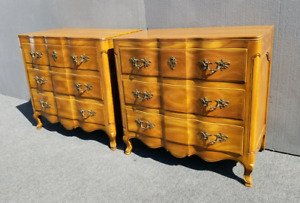 Pair Two Vintage John Widdicomb French Provincial Nightstands Dressers 35 Tall