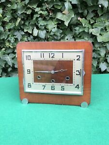 Antique Art Deco Haller Figured Walnut Striking Mantle Clock