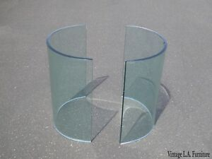 Vintage Two Half Round Pieces Of Glass Coffee Table Base Base Only As Is