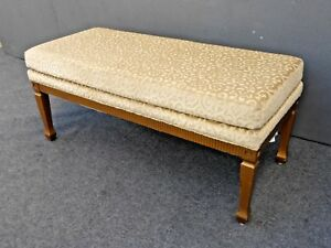 Vintage French Provincial Scrolled Gold Velvet Bench Hollywood Regency Canada