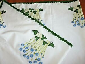 Vintage Hand Embroidered Tablecloth Blue White Yellow Flowers Green Crochet Edge