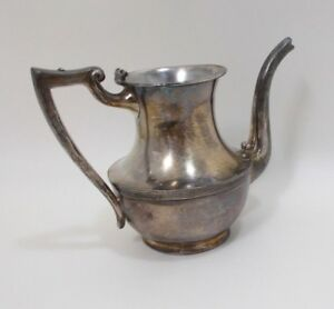 Vintage Poole Silver Co Coffee Tea Pot 6 2955 Taunton Mass Marked