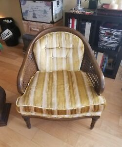 Vtg Mid Century Solid Wood Barrel Back Tuffed Velvet Wicker Custom Arm Chair