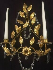 Vintage Italian Gilt Wall Sconce Candleholder Prisms Hollywood Regency Italy Ta