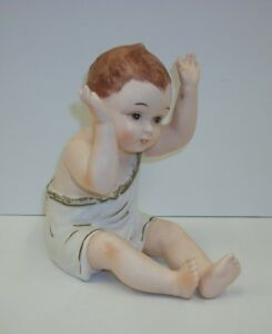 Antique Kpm Hand Painted Porcelain Bisque Large Piano Baby Red Headed Boy