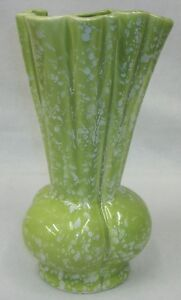 Vtg Mid Century Modern Tall Chartreuse Green White Confetti Art Pottery Vase