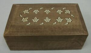 Vintage White Inlay Wooden Hinged Jewelry Trinket Cigar Style Box Chest