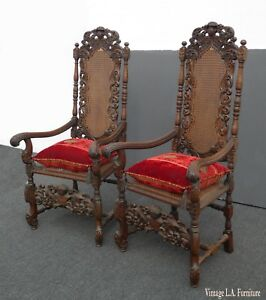 Pair Vintage Spanish Revival Ornate Cane Throne Accent Chairs Red Velvet Cushion