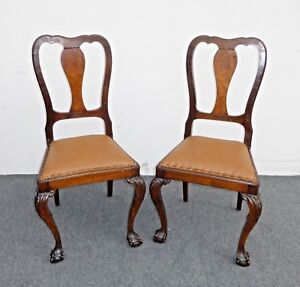 Pair Brown Leather Chippendale Style Carved Wood Accent Chairs Ball