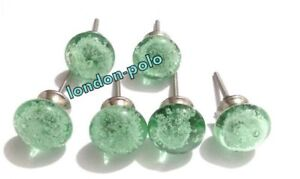 Glass Sea Green Bubble Kitchen Cabinet Door Pulls Knobs Handcrafted Set Of 6 Pcs