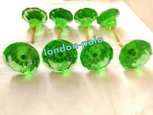 Door Cabinet Glass Knobs Rare Vintage Brass Puller Antique Style Green Nob 8 Pc