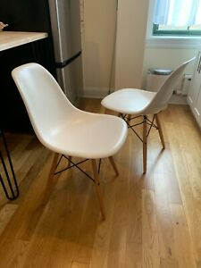 Modernica Fiberglass Shell Chair Set Of 2 White Maple Dowel Base