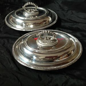 Thomas White Of Sheffield Silver Plated Epns Pair Of Lidded Serving Tureens