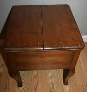 Antique Solid Heavy Wood Rare Shoe Shine Bench Foot Stool End Table Flip Lid