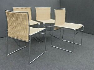 Set Of Four Vintage Mid Century Contemporary Modern Chrome Rattan Chairs