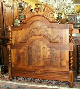 Antique Walnut French Louis Xiii Full Size Bed Rails 1880 Bedroom Furniture