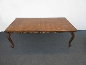 Vintage Parquet Top Dining Table Mid Century Carved Card Table With 2 Leaves