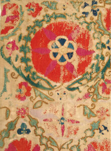 Early Uzbek Bukhara Suzani Silk Embroidered Fragment