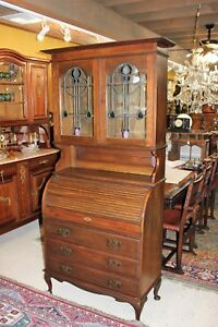 Antique English Oak Wood Secretary Tall Stained Glass Roll Top Desk Bookcase