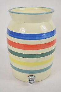 Vtg California Pottery Stoneware Water Crock Hudson Bay Red Blue Stripe Usa