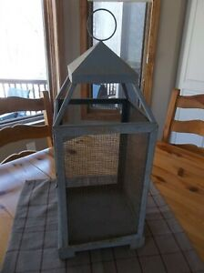 Large Metal And Wire Cloche Or Lantern Holder Rusty Patina Farmhouse Style