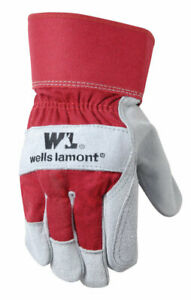 Wells Lamont Universal Cowhide Leather Palm Work Gloves Red L