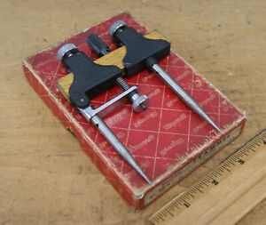 Vintage Starrett No 50 a Trammel Points scribe In Original Case L 1635