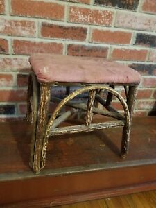 Great Vintage Primitive Hickory W Bark Adirondack Stool Upholstered Top