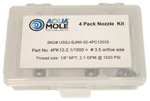 Aqua Mole 4 Pack 1 8 Npt Button Nose Sewer Jetter Nozzle 1500 Psi 3 5 Orifice