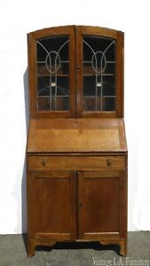 Antique Oak French Country Hutch Storage Curio Cabinet W Desk As Is