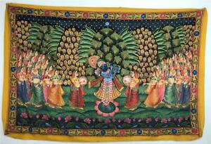 Old Painted Indian Scenic Shiva Vishnu Fabric Cloth Panel Tapestry Wall Hanging