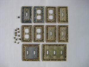 Vintage Towne Brass Wall Switch And Outlet Plates Grouping