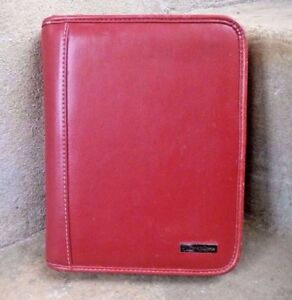 Franklin Covey Red Leather 6 5 X 8 5 Notebook Organizer Day Planner 6 ring
