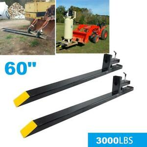 60 Clamp On Pallet Forks 3000lbs Capacity Loader Bucket Skidsteer Tractor Chain