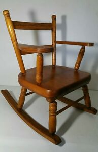 Vintage Wooden Small Child Doll Kids Rocking Arm Chair