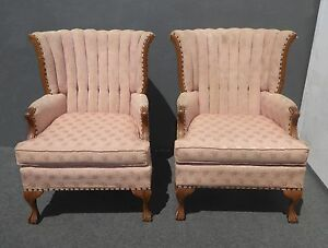 Pair Vintage French Provincial Mauve Tufted Channel Back Arm Chairs