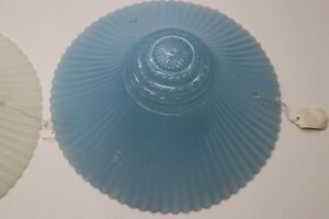 Blue Art Deco Ceiling Glass Light Fixture Shade Frosted Ribbed 3 Hole Hang Rope
