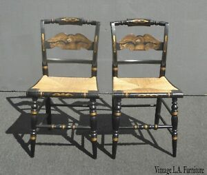 Pair Of Vintage French Country Black Eagle Chairs W Rye Seats By L Hitchcock