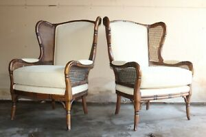 Ethan Allen Faux Bamboo French Wing Back Living Room Chairs Free Freight