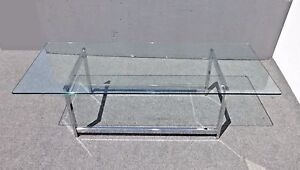 Vintage Contemporary Style Rectangle Glass Top Chrome Base Coffee Table