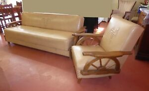 Vintage Mid Century Western Cowboy Wagon Wheel Tan Sofa Chair Embossed Motif