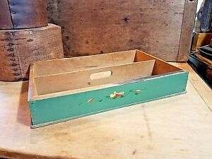 Antique Primitive Mid Century Green Painted Small Wood Carrier Cutlery Box