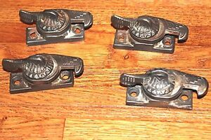 4 Antique Vintage Eastlake Ornate Window Sash Latch No Keepers