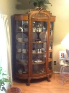 Antique Oak Curved Triple Bow Front Glass China Cabinet